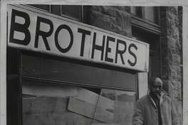 Leon Van Dyke outside The Brothers shop. January 19, 1968 (Jack Madigan/Times Union Archive)