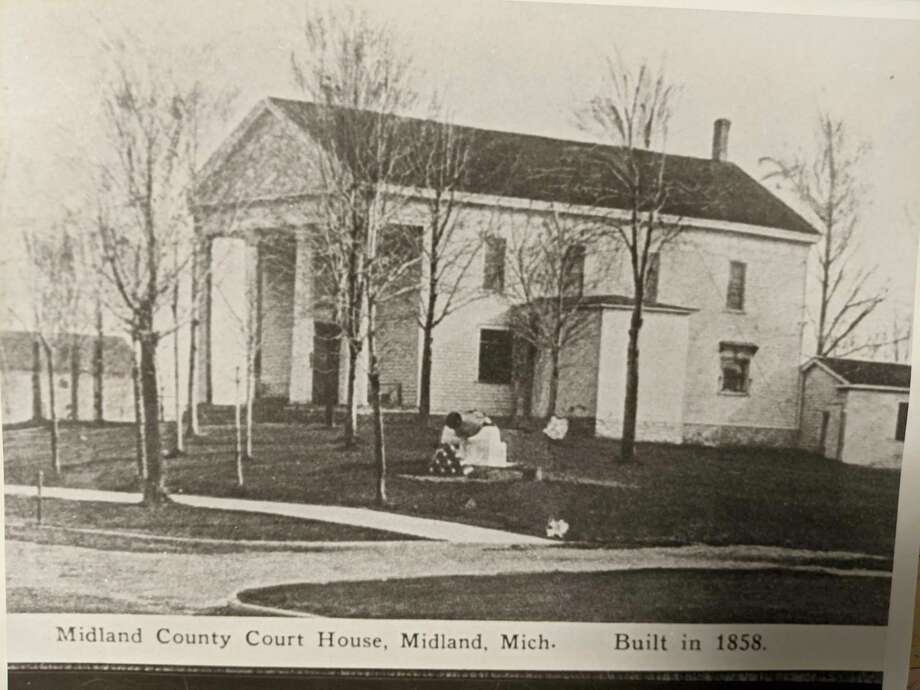 This is what the first Midland County Courthouse looked like in 1858, the year it was built. Henry Ashmun had Lansing's permission to choose the site for the courthouse and Henry Ashmun just happened to own six acres of land on West Main in the Village of Midland City. This courthouse was torn down in April of 1929 by Hiram Crane. (Photo Provided)