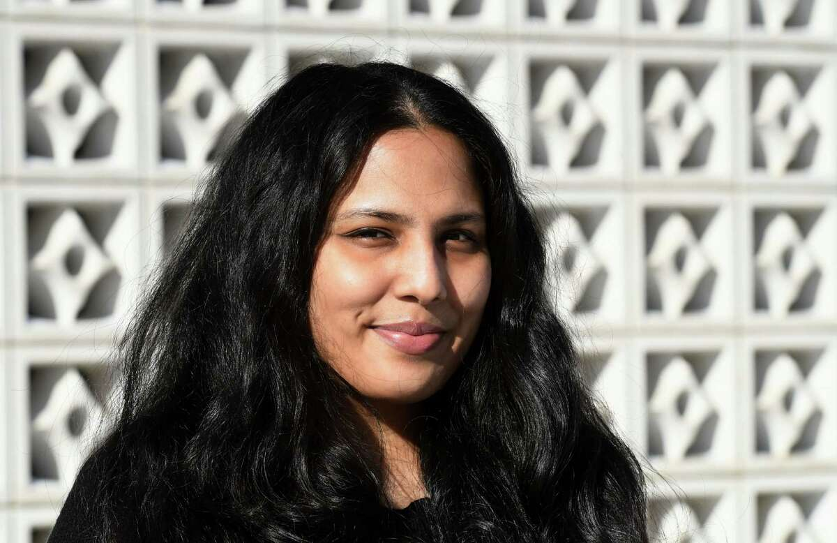 Times Union feature writer Shrishti Matthew is pictured outside the Times Union building on Friday, Jan. 29, 2021, in Colonie, N.Y. (Will Waldron/Times Union)