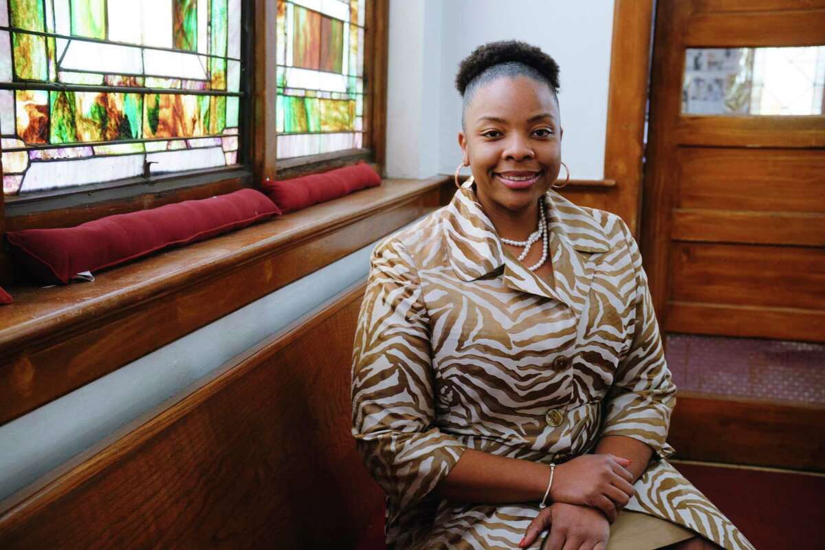 Pastor of Duryee AME Zion church, Rev. Nicolle Harris, at her church on Monday, Feb. 15, 2021, in Schenectady, N.Y. Reverend Harris is the new president of the Schenectady chapter of the NAACP. (Paul Buckowski/Times Union)