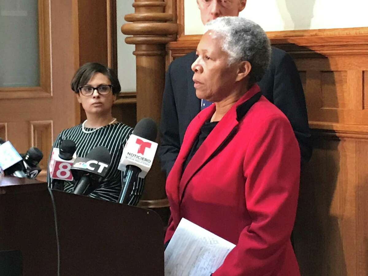 New Haven interim Superintendent of Schools Iline Tracey addresses press on March 12, 2020 to discuss the city's decision to close schools indefinitely over COVID-19 concerns.
