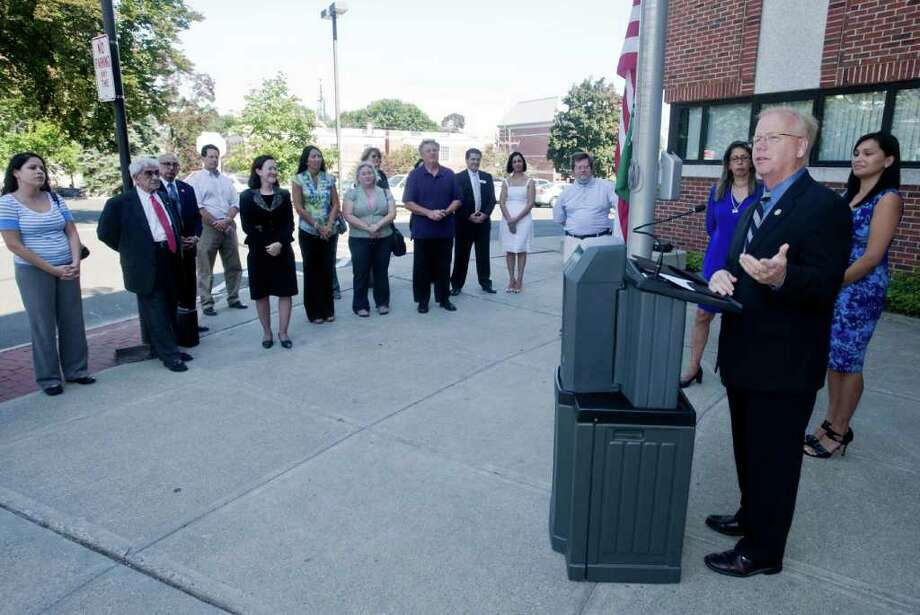 Mayor Boughton addresses the gathering prior to the raising of the Brazilian flag at City hall to honor Brazilian Independence Day. Tuesday, Sept. 7, 2010 Photo: Scott Mullin / The News-Times Freelance