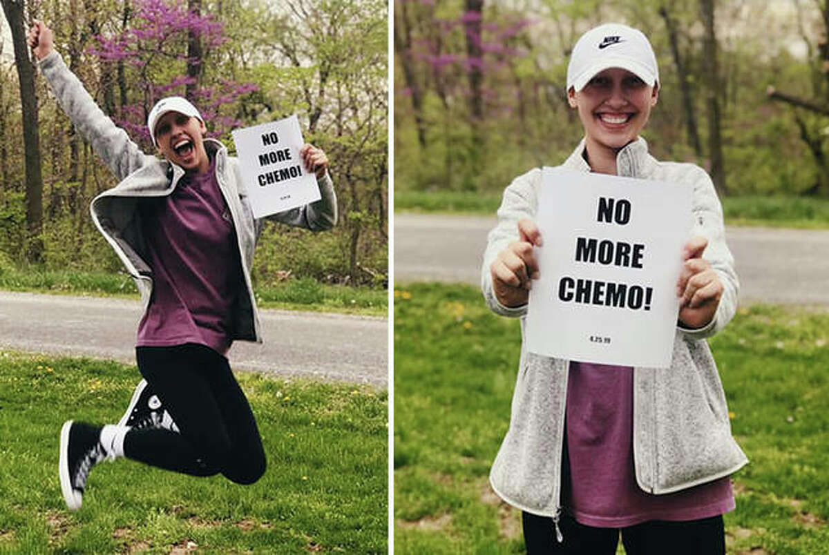 Greenfield's Kassidy Walters celebrates after her final chemotherapy treatment in April 2019. The 2018 Telegraph Small-Schools Girls Basketball Player of the Year as a senior with the Greenfield Tigers is approaching two years cancer free and working to reclaim her basketball game at Ripon College in Wisconsin.
