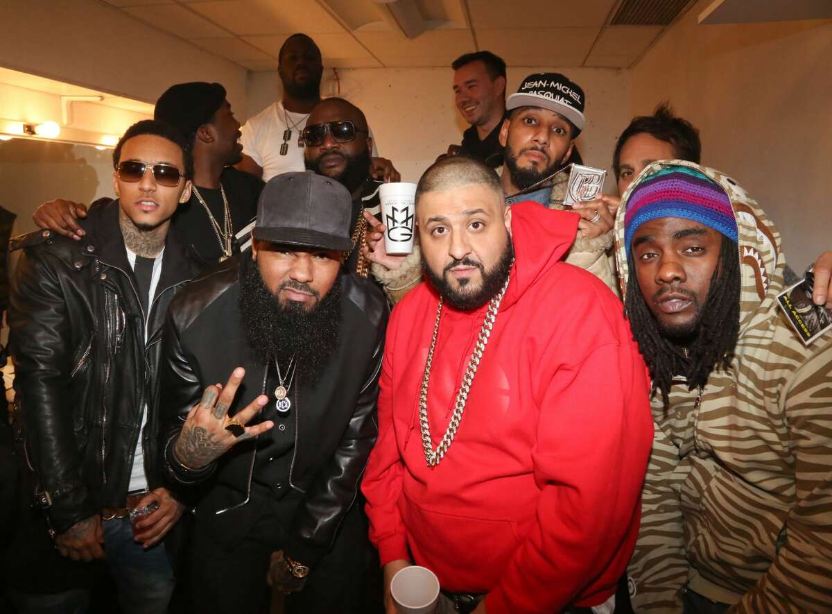 NEW YORK, NY - FEBRUARY 11: (Front row from left) Kirko Bangz, Stalley, DJ Khaled, Wale, (back row from left) Meek Mill, Rick Ross and Swizz Beatz attend the Rick Ross