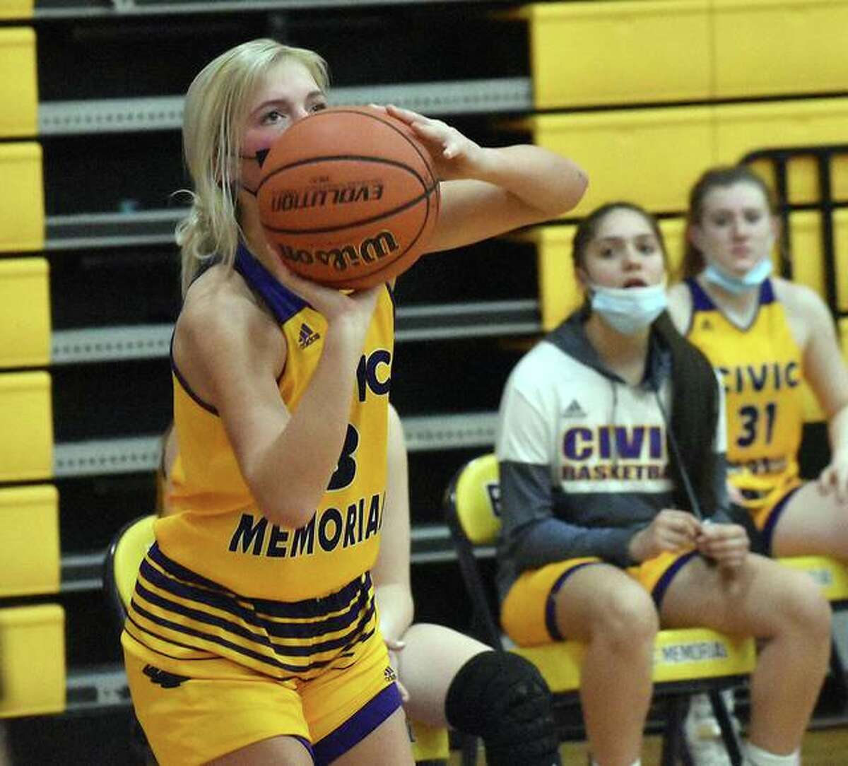 CM's Kelbie Zupan eyes a 3-pointer in the second half of the Eagles game vs. Edwardsville on Saturday in Bethalto.