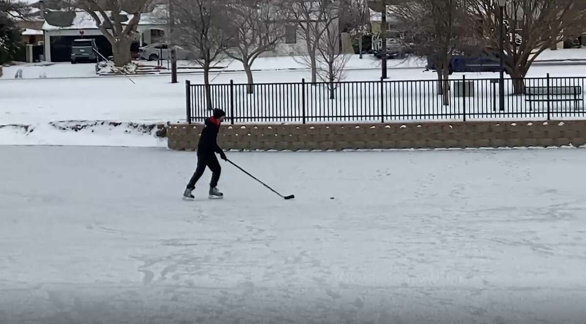James Tyrrell gets in some free-skate time on Wadley Barron Pond, (the duck pond) which has frozen over.