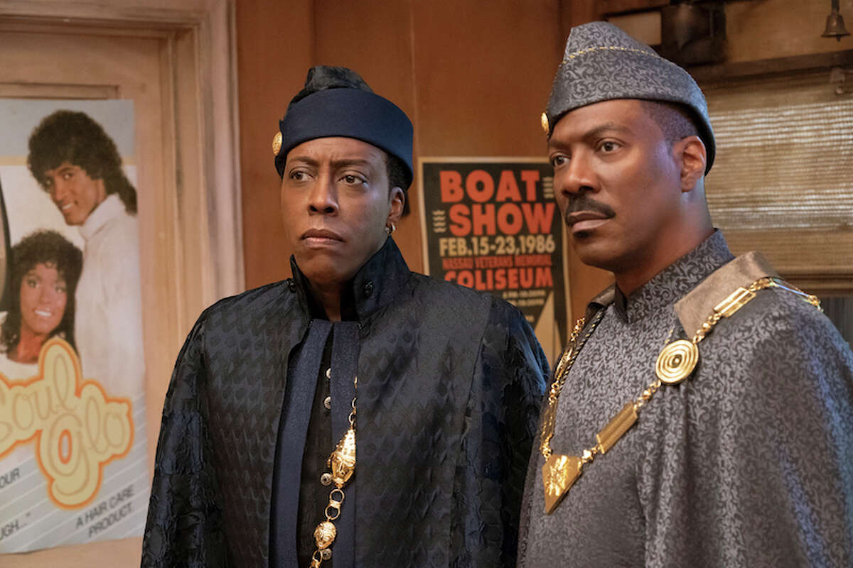 """Arsenio Hall and Eddie Murphy star in """"Coming 2 America."""""""