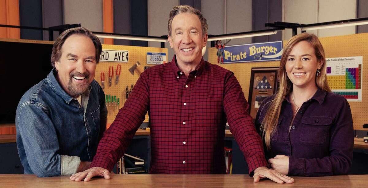"""Richard Karn (from left), Tim Allen and Corpus Christi native April Wilkerson star in """"Assembly Required,"""" a new competition show on the History Channel."""