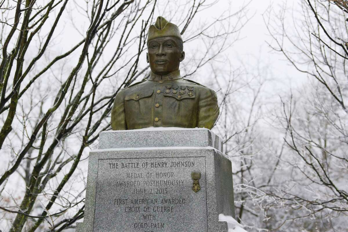 A view of the Henry Johnson statue in Washington Park on Tuesday, Feb. 16, 2021, in Albany, N.Y. (Paul Buckowski/Times Union)