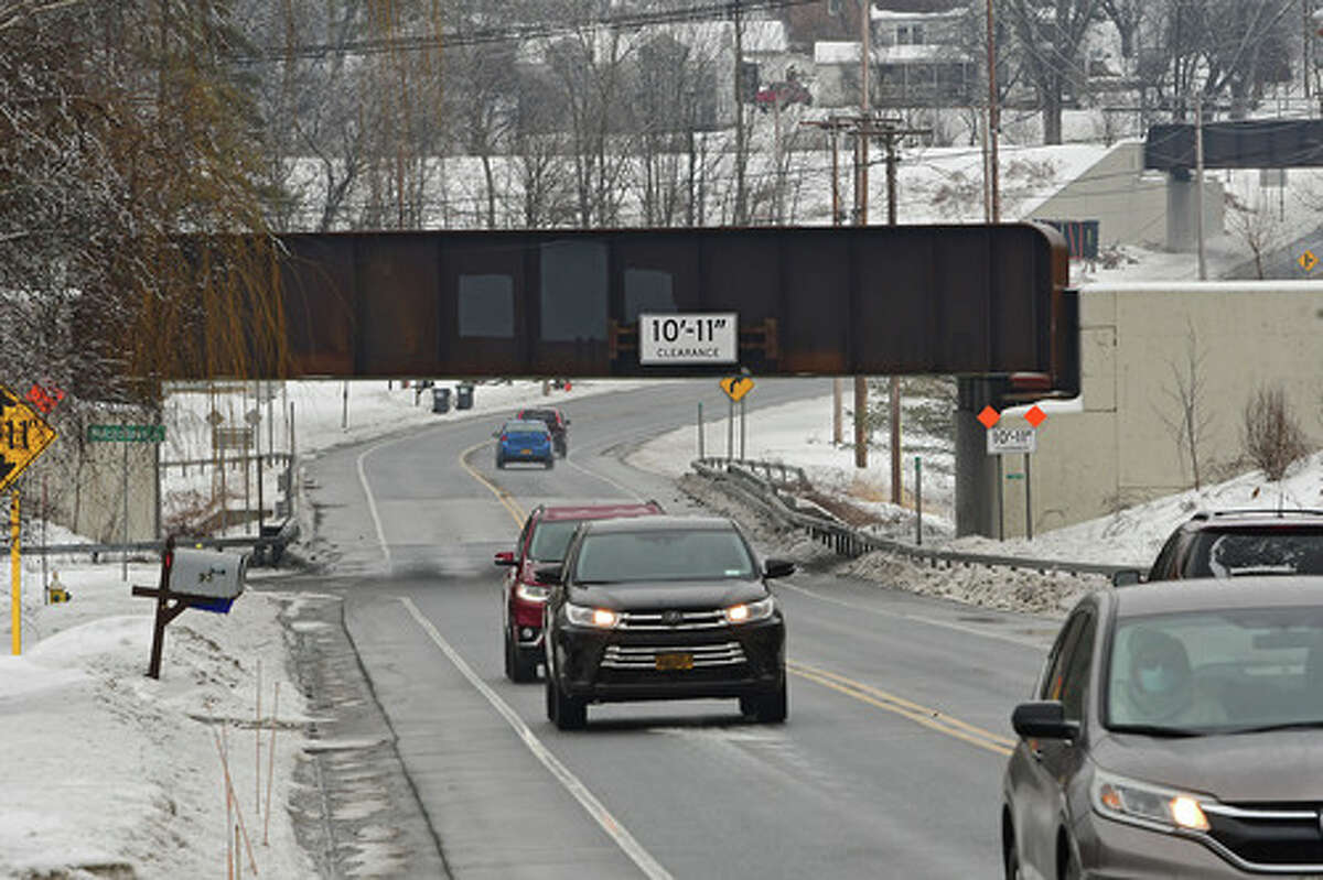 Glenville bridge over Route 146 on Tuesday, Feb. 16, 2021 in Glenville, N.Y. Council members will be discussing how to prevent vehicles from striking notoriously low Glenville bridge at Wednesday's town board meeting. (Lori Van Buren/Times Union)