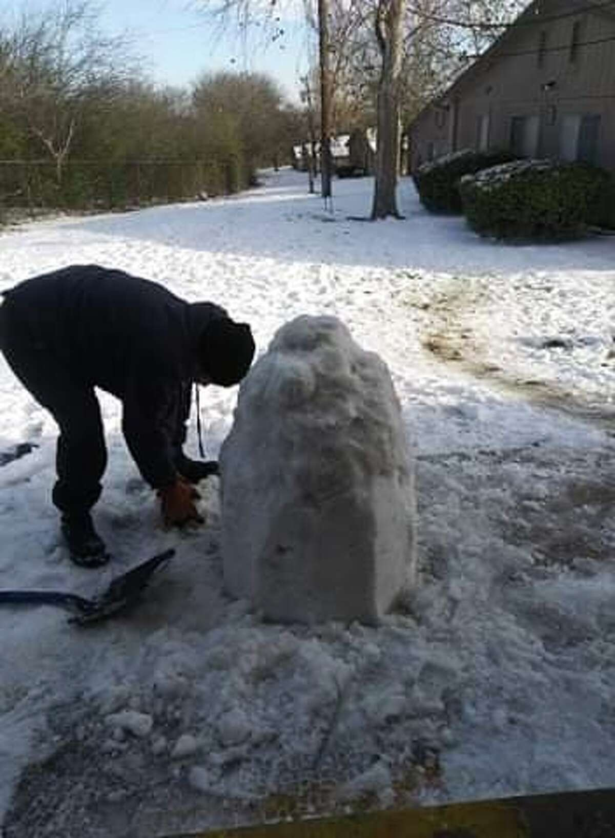 While other snow-struck San Antonians searched for snowman accessories, Perez worked her arts and crafts expertise.