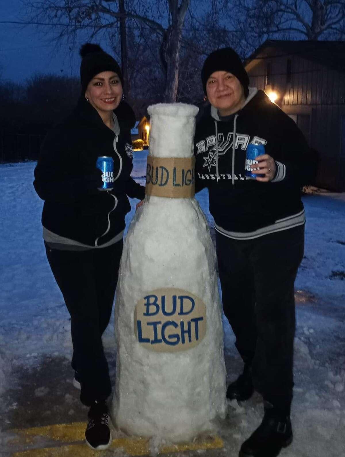 April Perez spent about an hour and a half building her giant Bud Light bottle, her niece Rosa Sanchez told MySA.com.