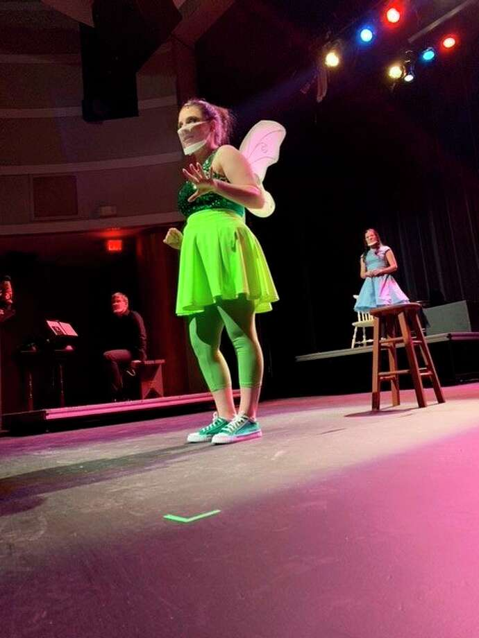 """The cast of Dow High's """"Tinkerbell"""" rehearse at Central Auditorium. The play was performed and filmed in the theater and will be available for online viewing Feb. 26-28. (Photo provided/Aiden Montgomery)"""