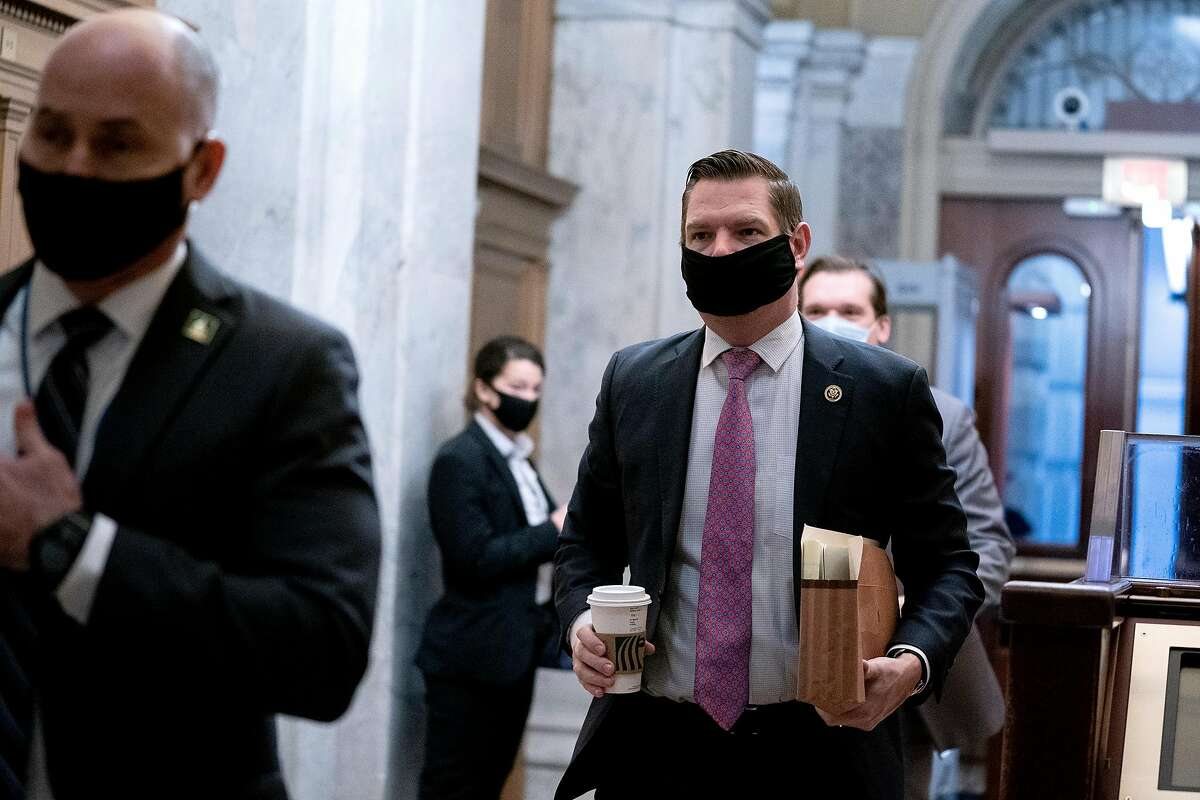 Rep. Eric Swalwell arrives Saturday for the fifth day of the Senate impeachment trial of former President Donald Trump. With the impeachment trial over, Swalwell has pledged a return to bipartisanship, after spending much of the Trump presidency as an arch and vocal critic.