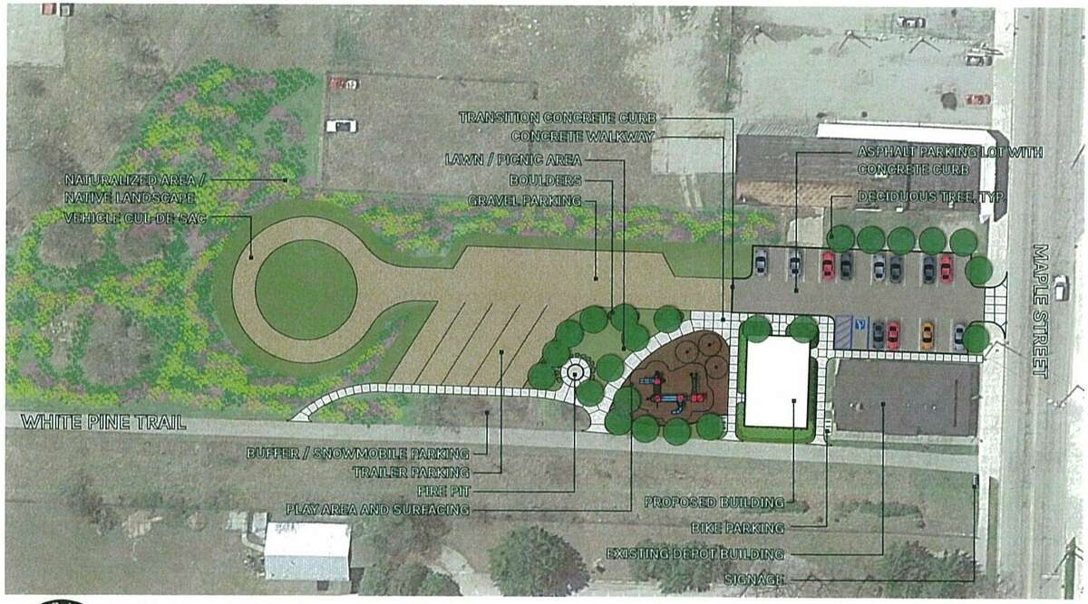 The Master Plan proposal for improvements to the White Pine Trailhead property includes new restrooms, a fire pit and a playground area. Development of the property is projected to begin in 2022. (Photo courtesy of City of Big Rapids)