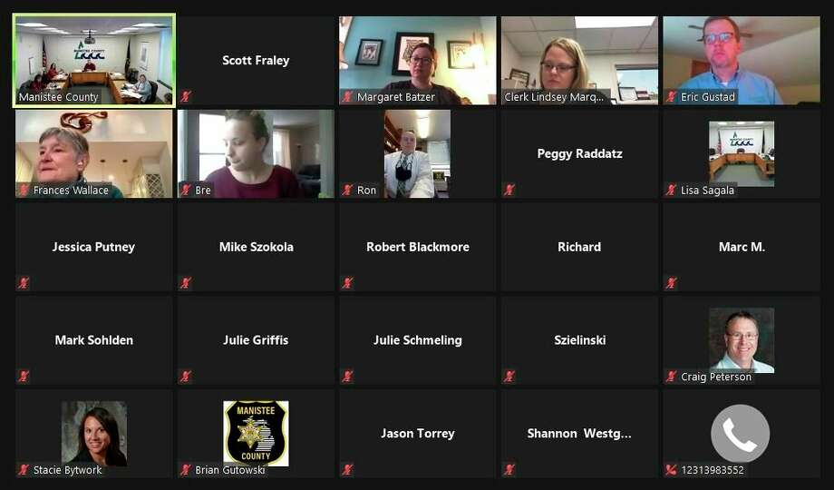 A number of local organizations tuned in to Tuesday's Manistee County Board of Commissioners meeting. The commissioners heard from representatives of the Manistee County Sheriff's Office, Manistee Area Chamber of Commerce and Manistee Area Public Schools. (Screenshot/Zoom)
