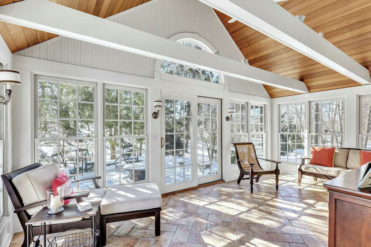 Four-season sunroom at 361 Brookbend Road, Fairfield.