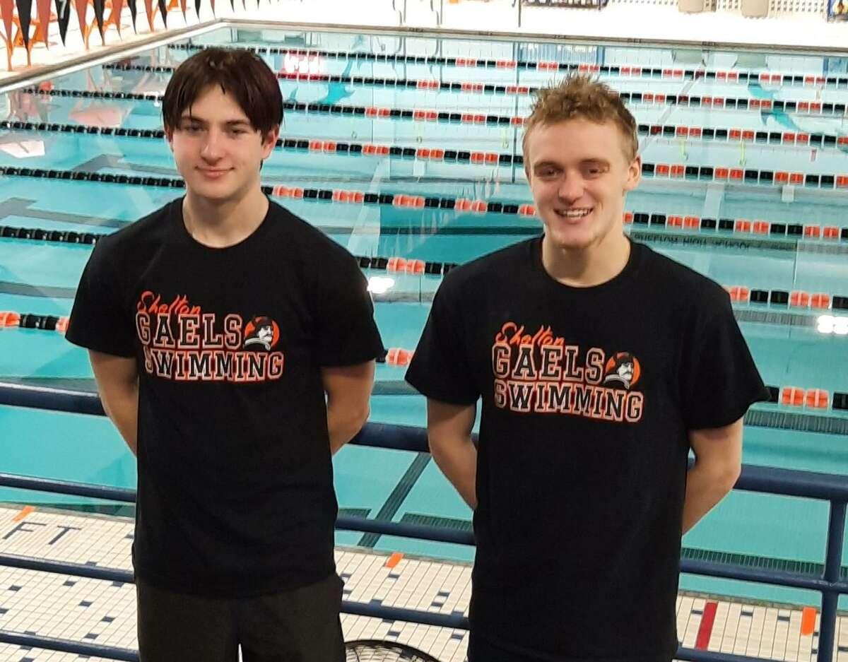 Carson Rhodes and Korey Barber are Shelton High boy's swim captains.