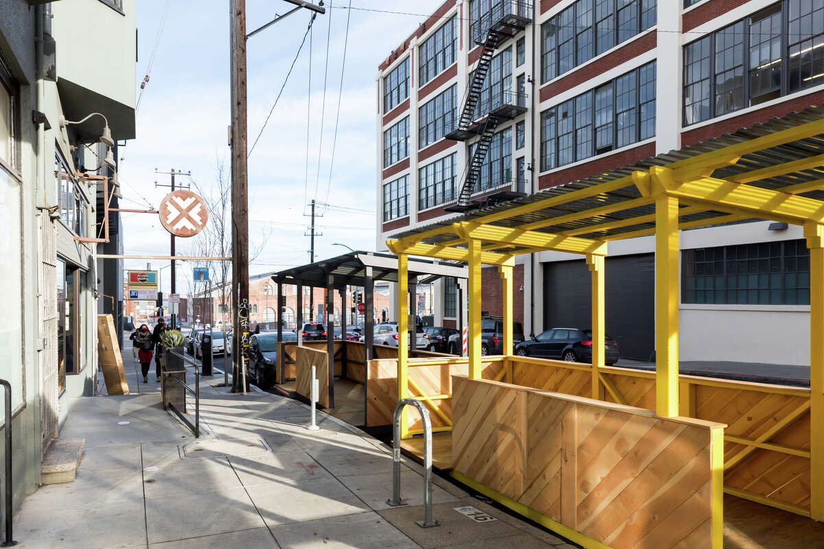 A parklet sits empty in front of Third Rail. The Dogpatch neighborhood bar is located at 628 20th St. in San Francisco.