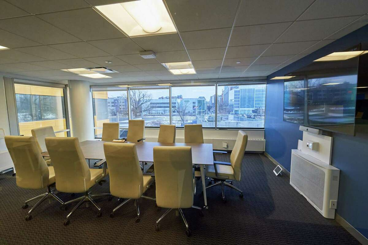 A conference room that is part of the University of Connecticut's data science technology incubator in Stamford.