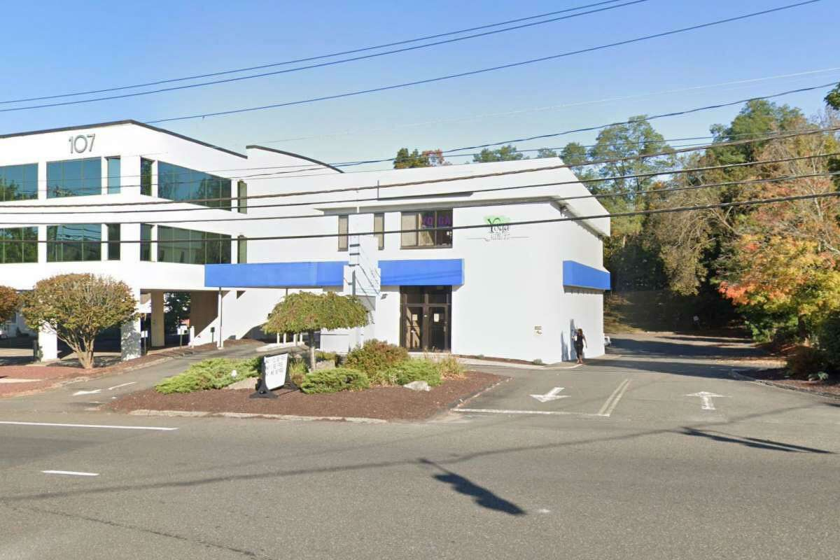 105 Mill Plain Road, on the right with the blue awning, is a former bank building in Danbury, Conn., where a Bethel-based medical marijuana dispensary has plans to expand.