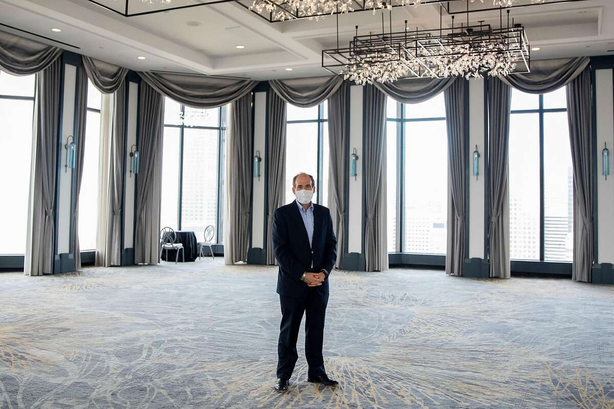 Westin St. Francis general manager Jon Kimball stands in the empty ballroom of the hotel.