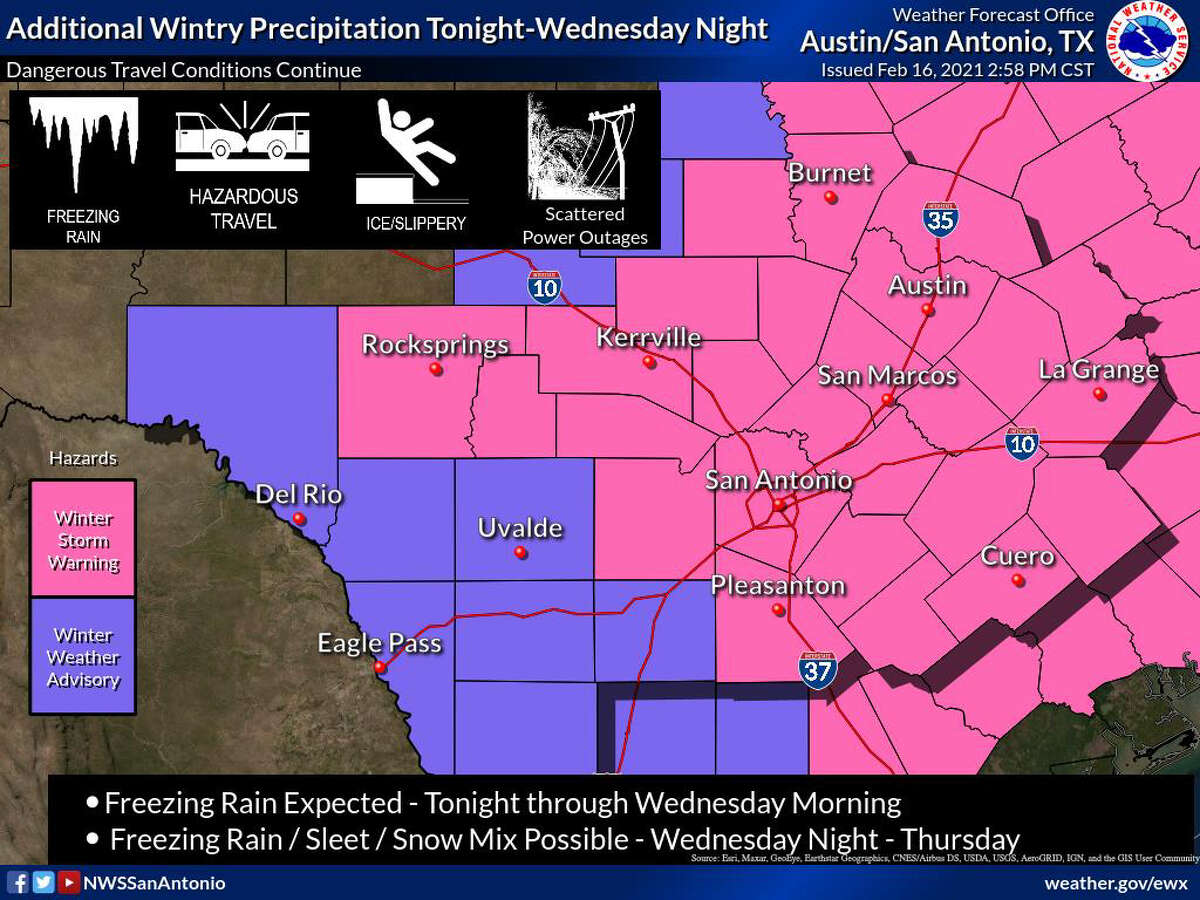 Winter storm warning map provided by the National Weather Service.