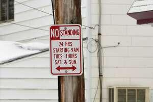 Parking sign on Hegeman St. in the Bellevue neighborhood on Tuesday, Feb. 16, 2021 in Schenectady, N.Y. (Lori Van Buren/Times Union)