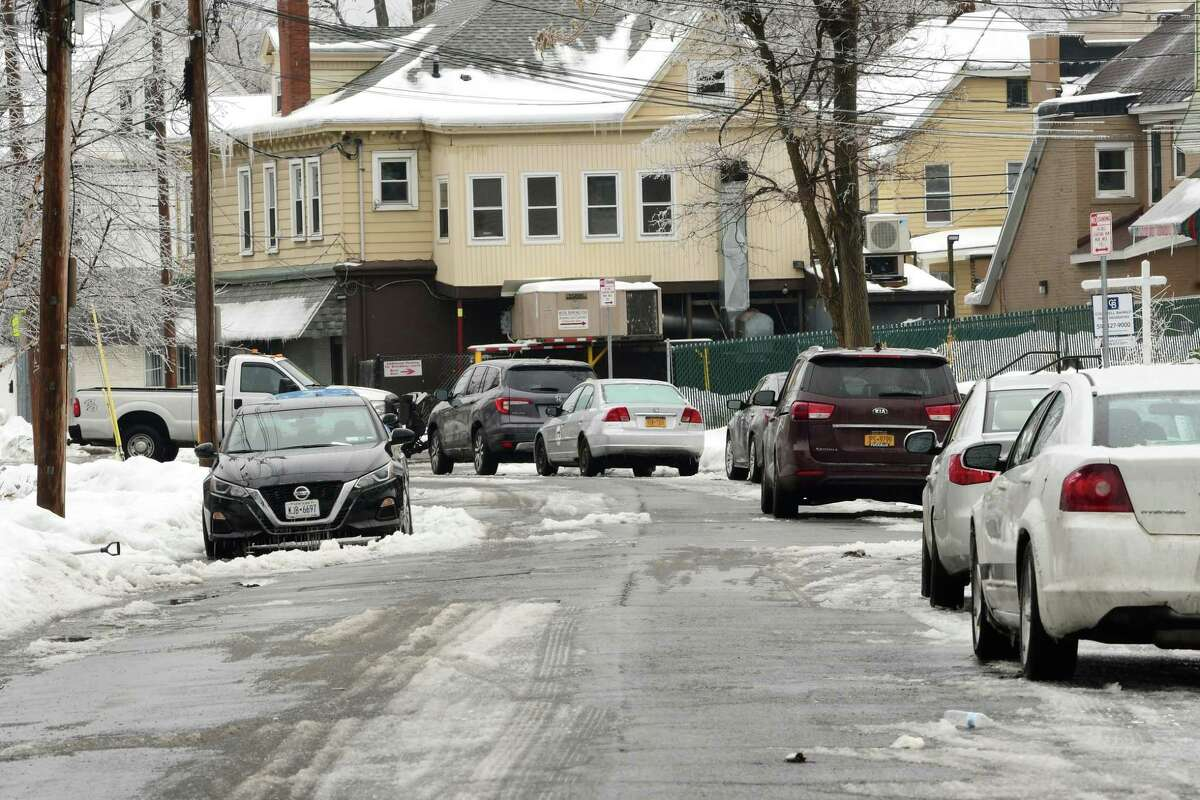 A car is seen parked illegally on the left side of Hegeman St. in the Bellevue neighborhood on Tuesday, Feb. 16, 2021 in Schenectady, N.Y. (Lori Van Buren/Times Union)