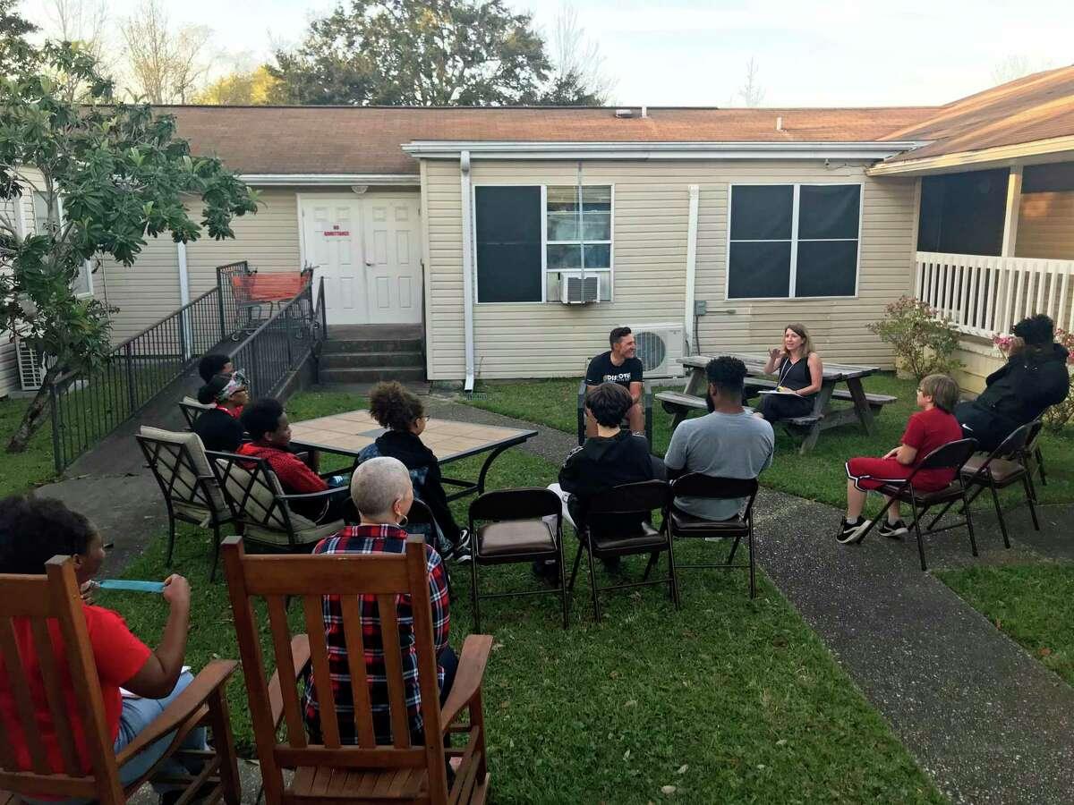Talking with kids at LFS in Pensacola, Fla.