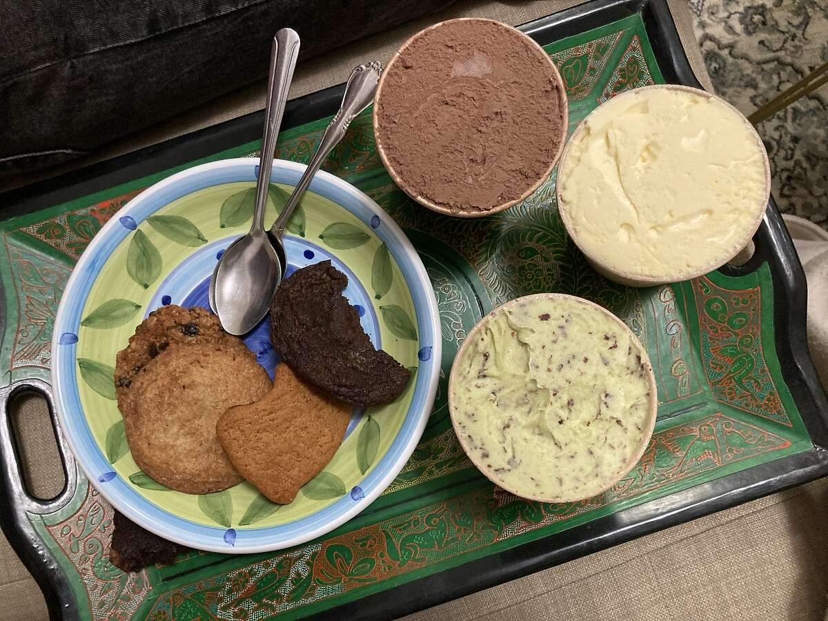 Good Children is a dessert pop-up that sells ice cream by the pint and cookies. Here's a plate of its cookies and milk chocolate, French vanilla and avocado mint chip flavors.