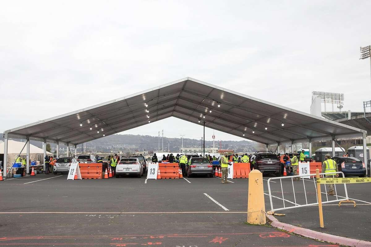 A COVID-19 mass vaccination site opened to the public at the Oakland-Alameda Coliseum Complex in Oakland, Calif. on Feb. 16, 2021.