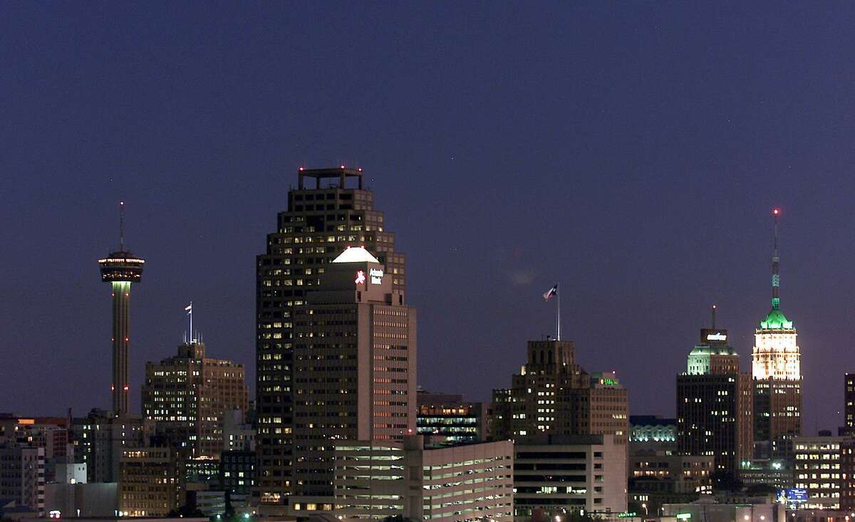 The San Antonio downtown skyline at night, seen in November 2000. Lights were on at empty office buildings across the downtown area Monday night, even as residents were asked to conserve energy.