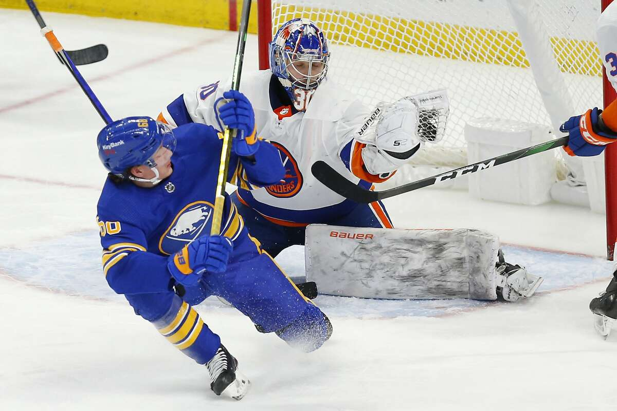 The Sabres' Victor Olofsson is stopped by Islanders goalie Ilya Sorokin in the third period.