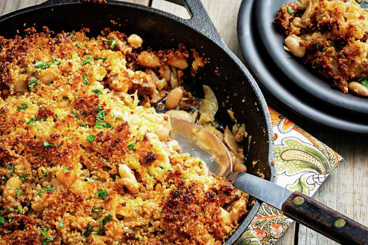 Cabbage, Sausage and White Bean Casserole.