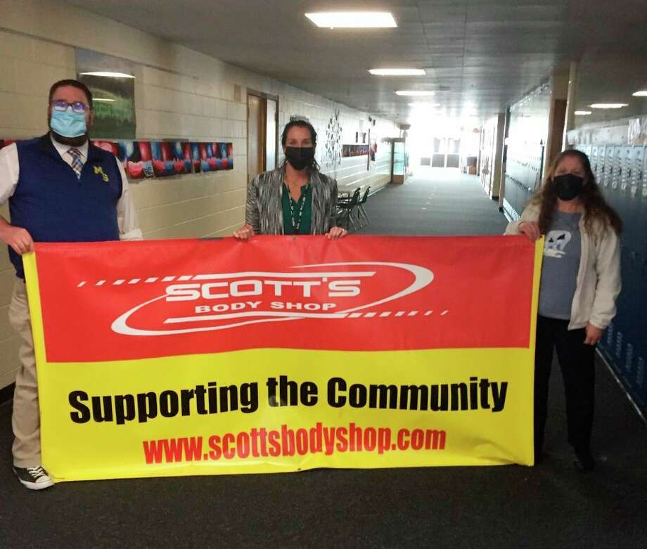 Stephanie Thompson (middle) has been named Morley Stanwood Community Schools' teacher of the month for February. The teacher of the month program is sponsored by Scott's Body Shop. (Submitted photo)