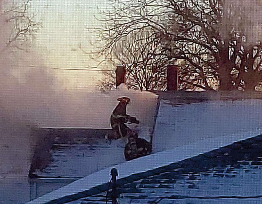 Winchester and Roodhouse firefighters respond to a fire Tuesday in Manchester. Photo: Audrey Clayton | Journal-Courier