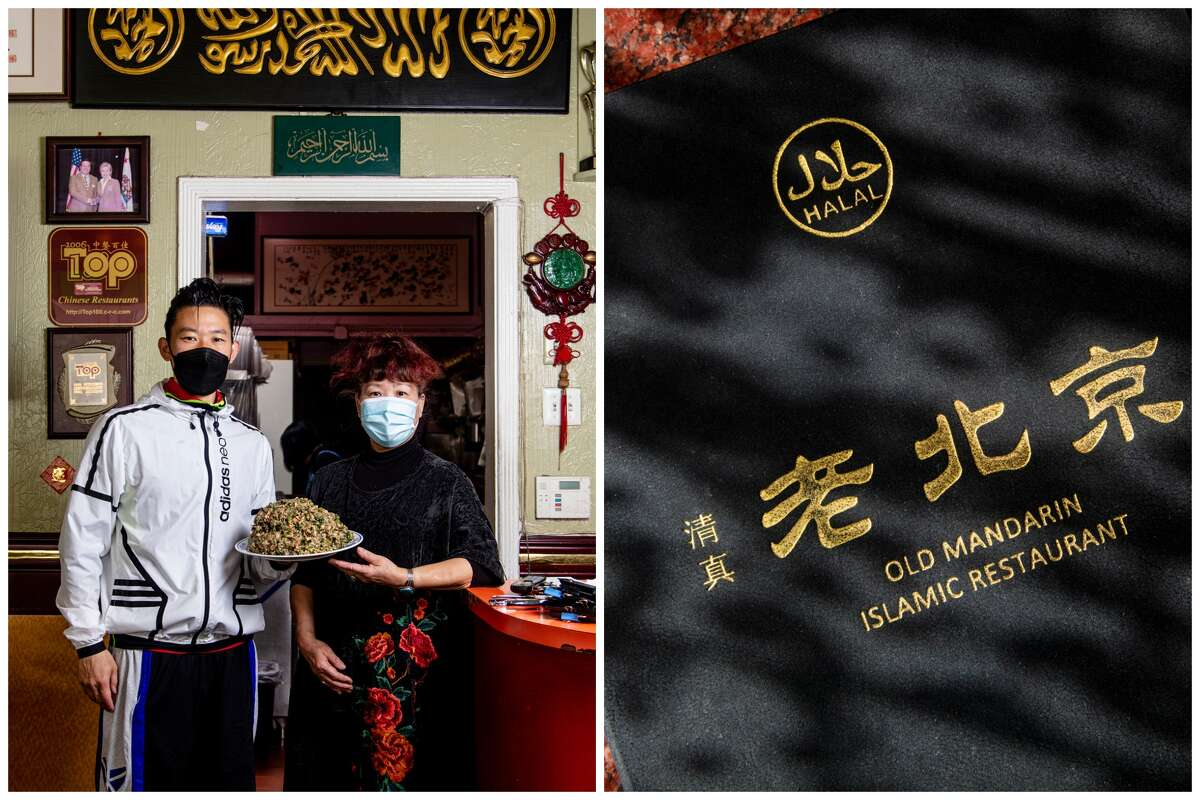 LEFT: Shuai Yang, left, and Feng Wang, his mother, right. RIGHT: A menu cover.