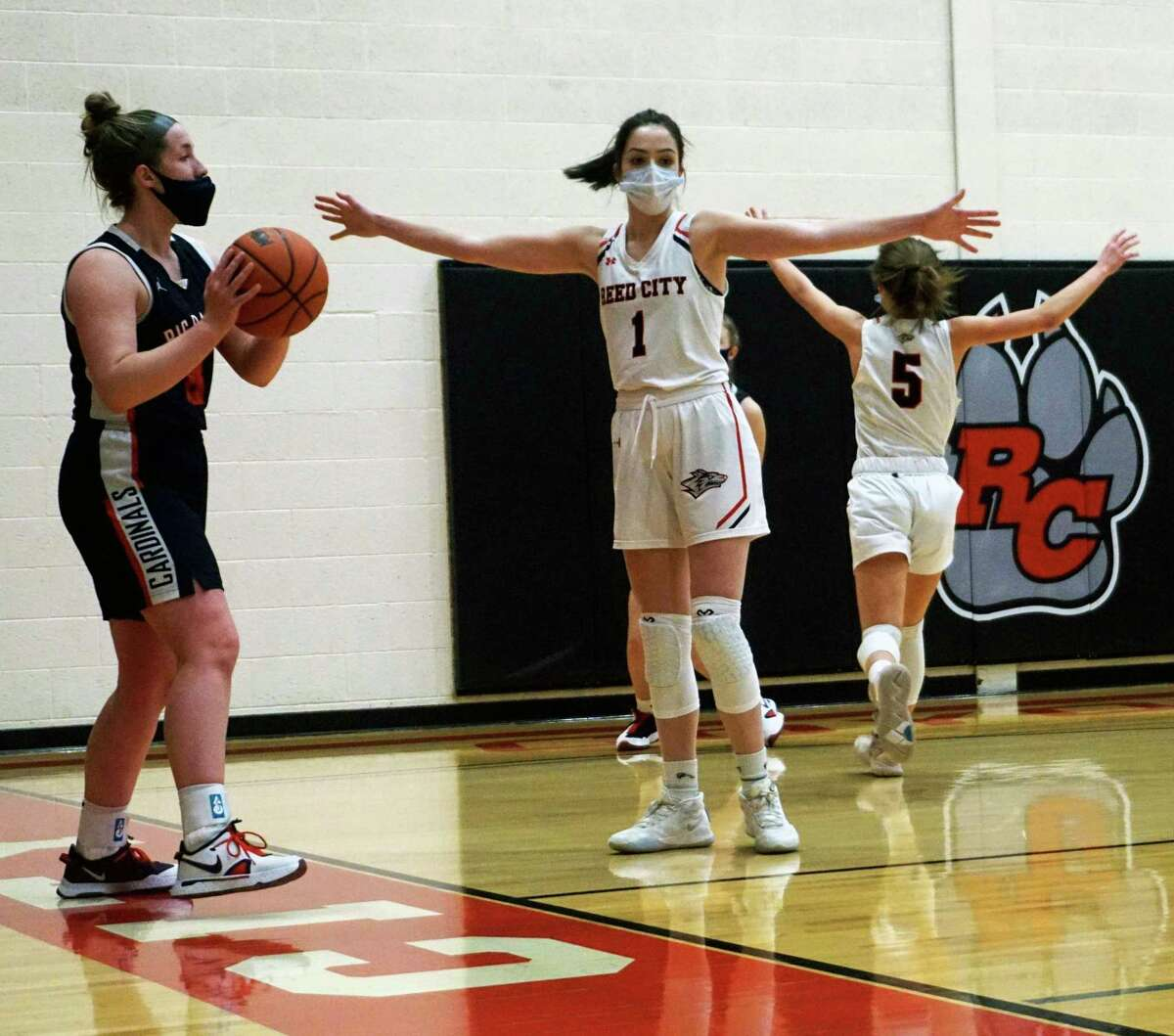 Big Rapids sophomore Rylie Haist (left) looks to inbound the ball during a game on Tuesday night as Reed City's (name) gets ready to defend. (Pioneer photo/Joe Judd)