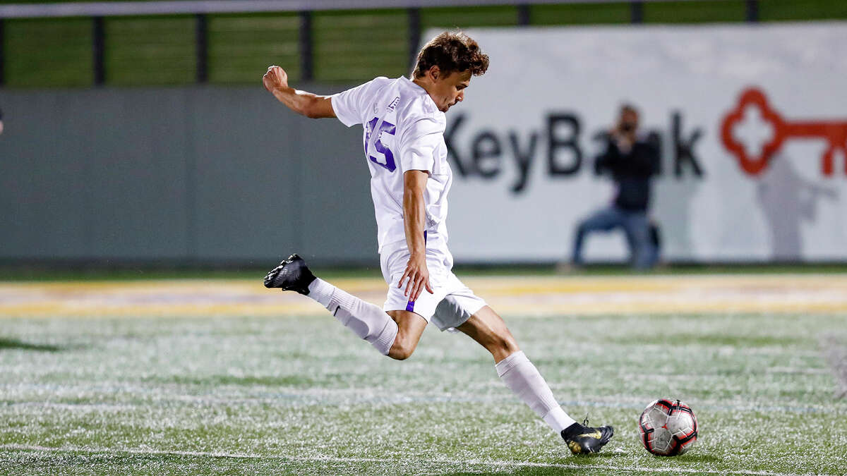 UAlbany soccer player Austin DaSilva in a game Sept. 24, 2019, in a 4-2 victory over Dartmouth. (Bruce Dudek/UAlbany athletics)
