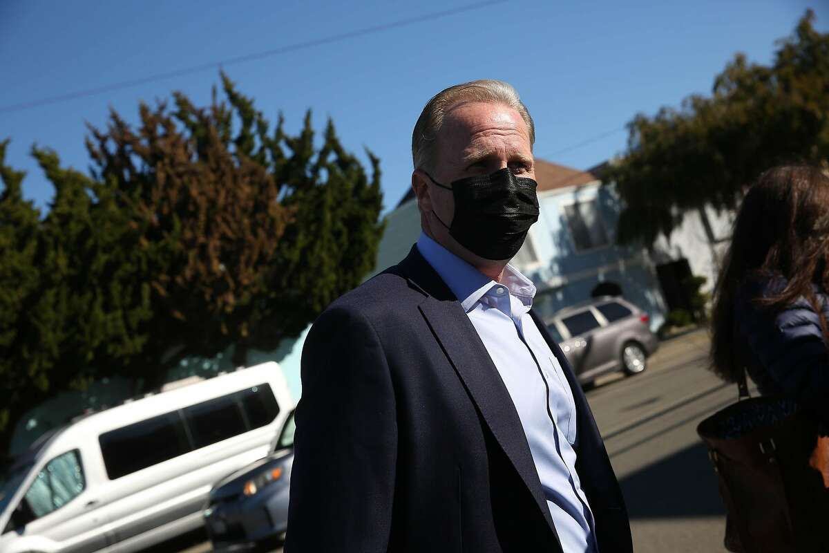 Former San Diego mayor and GOP gubernatorial candidate Kevin Faulconer arrives at a news conference at Lincoln High School in San Francisco on Wednesday.