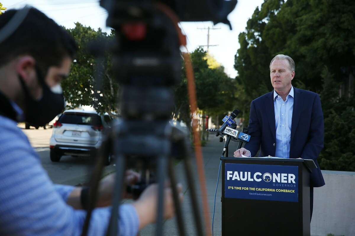 Former San Diego Mayor and GOP gubernatorial candidate Kevin Faulconer speaks during a news conference at Lincoln High School on Wednesday in San Francisco.