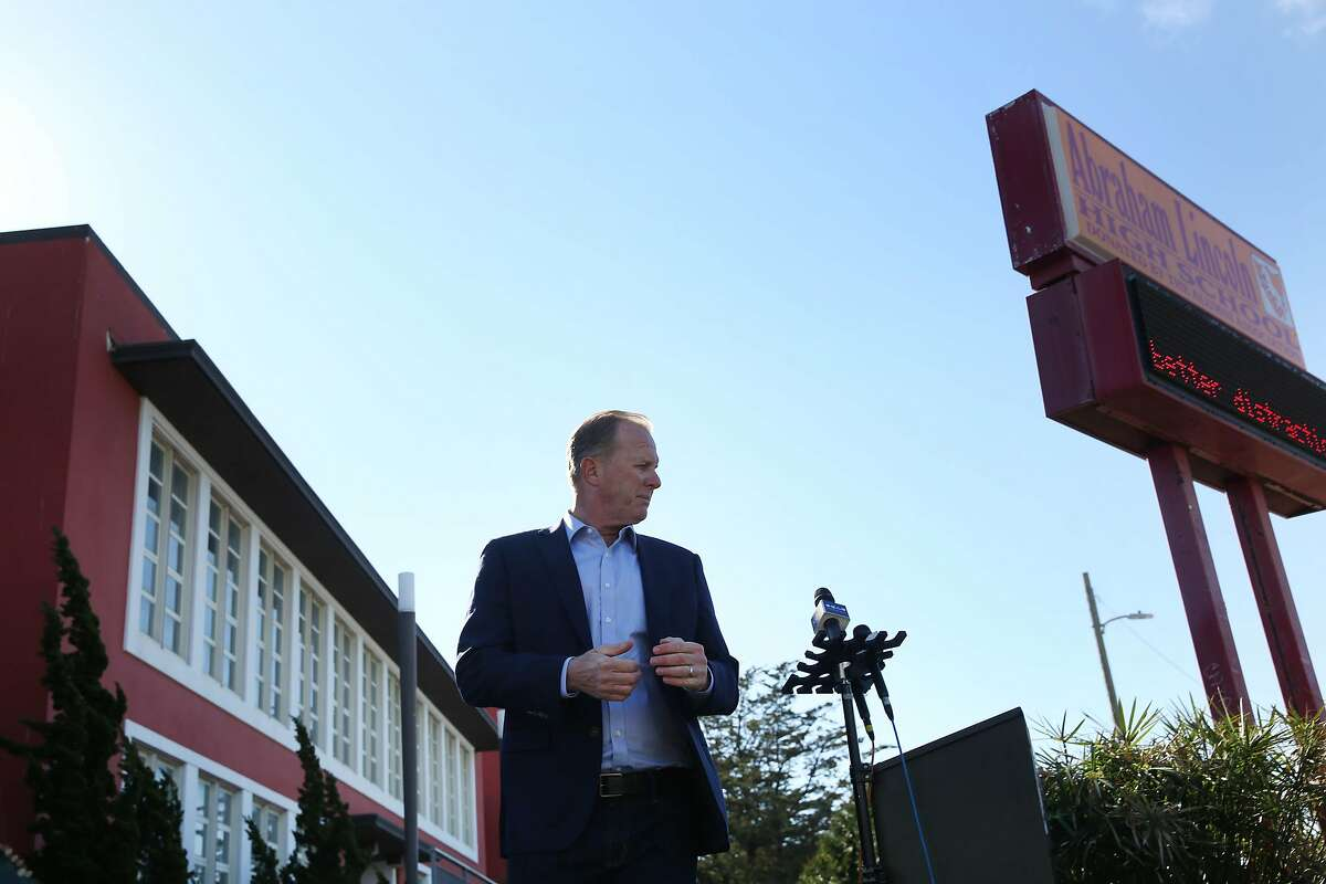 Former San Diego mayor and GOP gubernatorial candidate Kevin Faulconer walks from the podium after speaking at a press conference at Lincoln High School on Wednesday, February 17, 2021 in San Francisco, Calif.