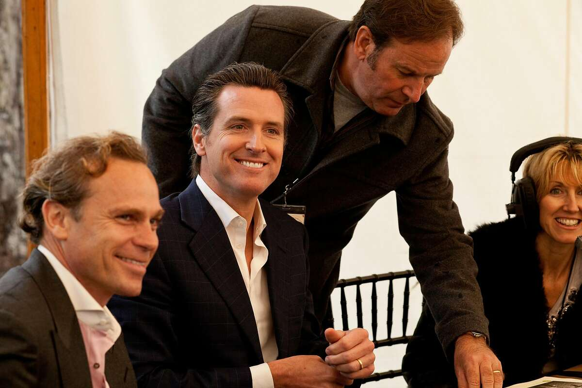 Lt. Govenor Gavin Newsom, Jean-Charles Boisset (left) and Delia Viader (far right with headset on) at the Napa Valley Auction and the Napa Vintners' annual charity gala at Meadowood in St. Helena, California, on Saturday, June 4, 2011.
