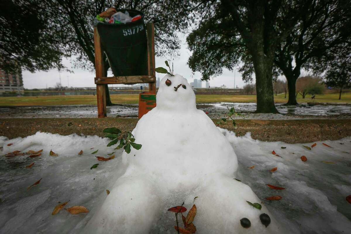 A small snowman in Stude Park Wednesday, Feb. 17, 2021, in Houston.
