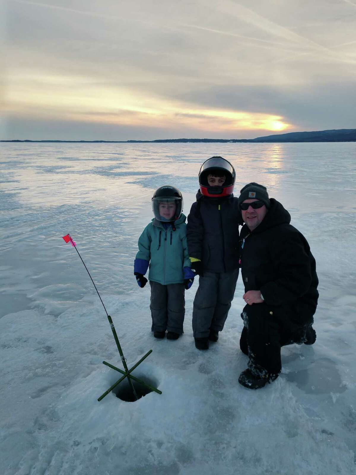 Jason Kemper, right, with his sons Cal and Cole, ice fishing on the Great Sacandaga Lake. (Photo provided)