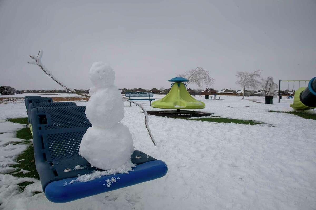 A small snowman waves Wednesday, Feb. 17, 2021 at C.J. Kelly Park. Jacy Lewis/ Reporter-Telegram