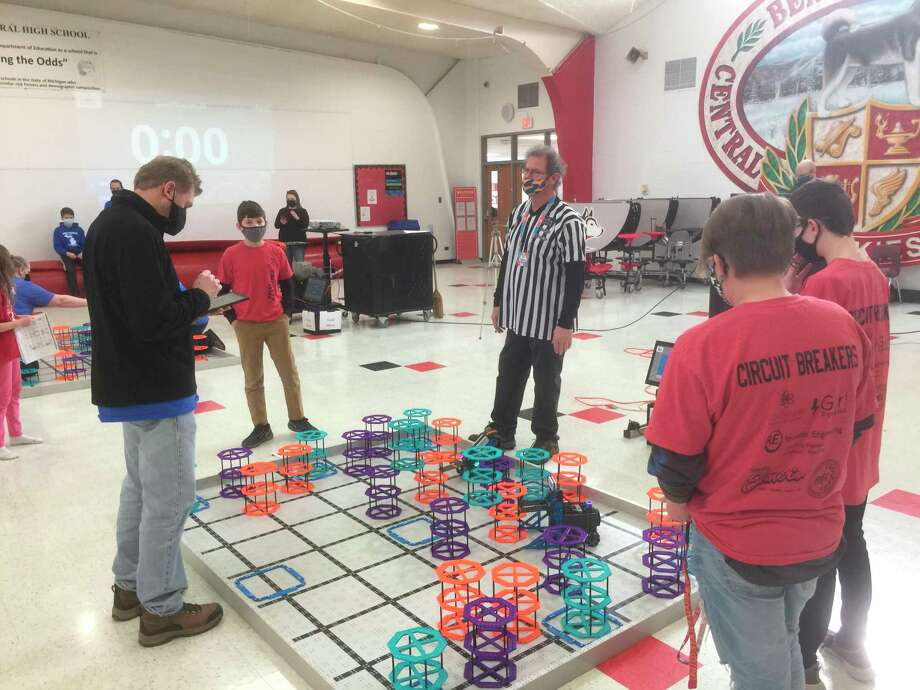 Elementary and middle school students from area schools participated in the VEX IQ event at Benzie Central High School on Saturday. (Courtesy Photo)