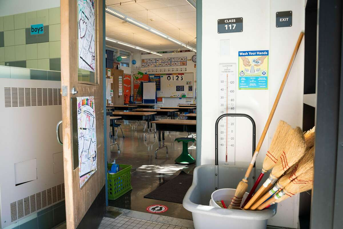 A first-grade classroom is prepped to welcome students back for in-person learning at Sunset Elementary School.