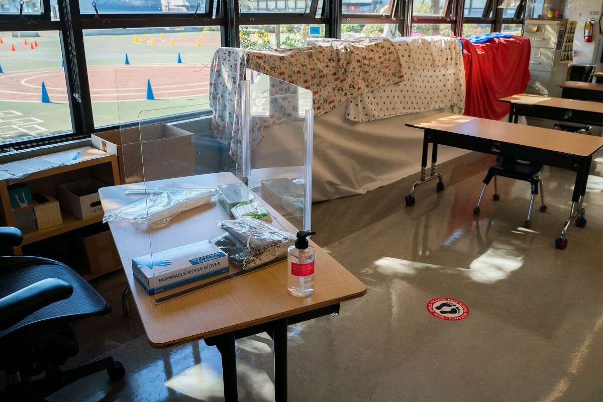 A first grade teacher's desk is equipped with PPE before students return for in-person learning at Sunset Elementary School in San Francisco, Feb. 17, 2021.